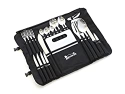 Front Runner Camp Kitchen Stainless Steel Utensil Set with Canvas Wrap Tote Bag - by