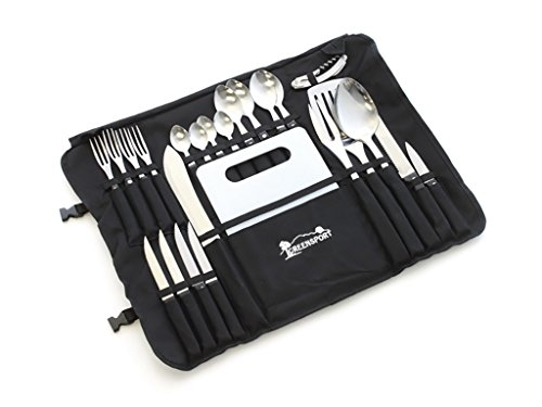 Front Runner Camp Kitchen Stainless Steel Utensil Set with Canvas Wrap Tote Bag by