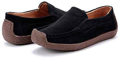 ANYUETE Suede Shoes for Women Leather Casual Moccasins Black Size 8