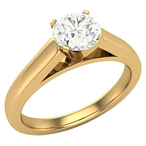 (0.50 carat L I1 Round Brilliant Diamond Engagement Ring for women 14K Yellow Gold 4 prong Solitaire Setting (Ring Size 9))