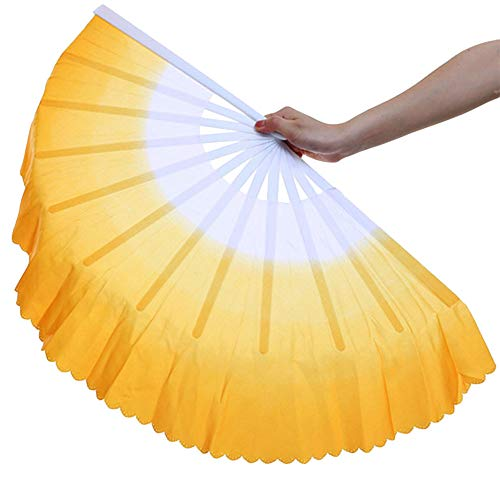 ZooBoo Dance Hand Held Fan - 1Pair Chinese Hand-Held Fold Vintage Style Portable Personalized Tai Chi Kungfu Dancing Folding Fans Decoration for Women Kids Dance - Silk and Plastic - 13inch
