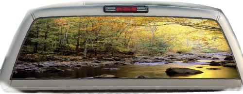 Mountain Stream- 17 Inches-by-56 Inches- Compact Pickup Truck- Rear Window Graphics (Rear Window Fishing Graphics compare prices)