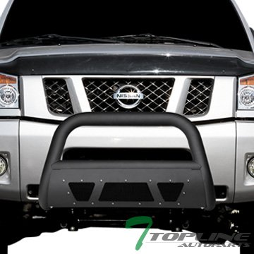 Topline Autopart Matte Black Studded Mesh Bull Bar Brush Push Front Bumper Grill Grille Guard With Skid Plate For 04 / 05-15 Nissan Titan ; Armada