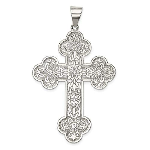 925 Sterling Silver Large Filigree Cross Religious Pendant Charm Necklace Fine Jewelry Gifts For Women For Her