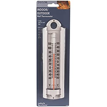 Amazon.com: Taylor Indoor-Outdoor Aluminum Wall Thermometer: Home ...