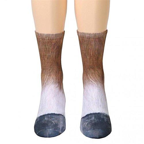 Unisex Funky Socks Hosamtel Animal Paw 3D Printing Sublimated All Over Crew Socks for Man Women Girl Boy (Horse)