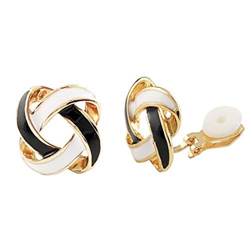 (SELOVO Fashion Cross Knot Clip On Earrings Stud White Black Enamel Gold Tone)