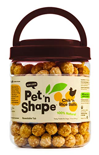 Pet 'N Shape Chik 'N Rice Balls Natural Dog Treats, 1-Pound (Chicken Dumbells)