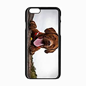 iPhone 6 Black Hardshell Case 4.7inch dogs tongue rest Desin Images Protector Back Cover