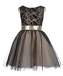 Black Gold Sequin Short Flower Girl Dresses
