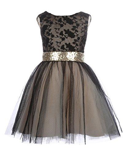 Mrprettys Black Light Gold Sequin Short Flower Girl Dresses Girls Wedding Party Dress