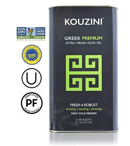 Kouzini (3L - 101.4 fl oz) Extra Virgin Greek Olive Oil | First Cold Pressed | Current Harvest 2018/2019 | Single Origin | NONGMO Verified | Family Owned