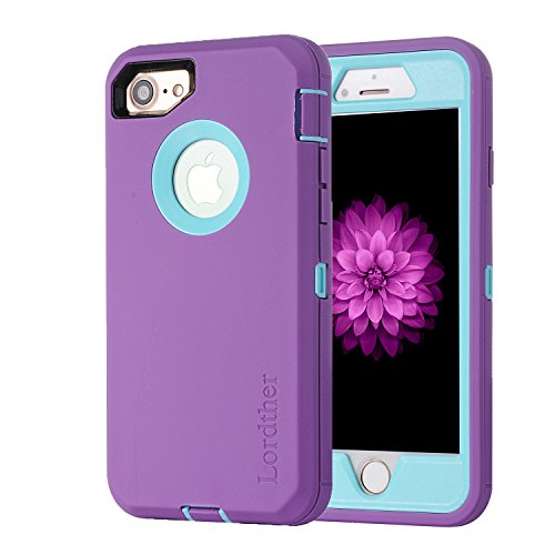 Lordther 4.7-Inch iPhone 8 Case, [ShieldOn Series] [Military Grade Drop Test] [Heavy Duty] Synthetic Rubber TPU Case Covers with [Bonus Screen Protector] for iPhone 7&iPhone 8 (Purple/Blue)