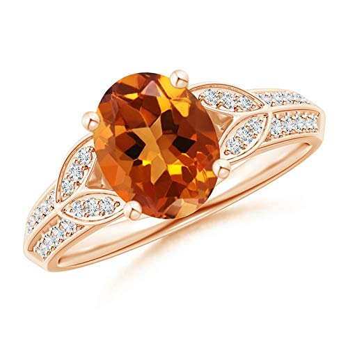 Knife-Edged Oval Citrine Solitaire Ring with Pave Diamonds in 14K Rose Gold (9x7mm Citrine)