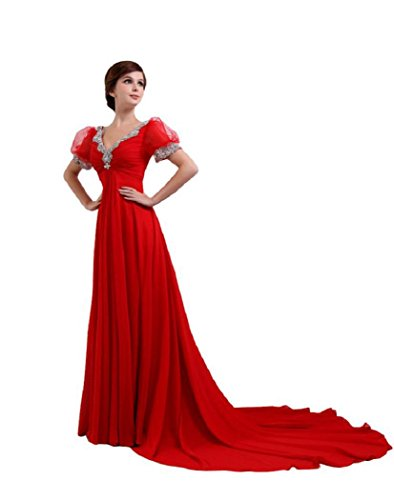 Gericht Neck Emily Ballkleid Beauty Seqins Kapelle Women's lange Schleppe V Rot Hochzeit Abendkleid OFqxv1twq