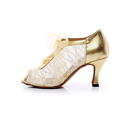 High Dance Modern heeled7 Shoes Lace Samba JSHOE Yellow Jazz Chacha Heels UK3 EU34 Shoes Women's Our35 5 Latin Salsa Tango 5cm Sandals OnqaFt