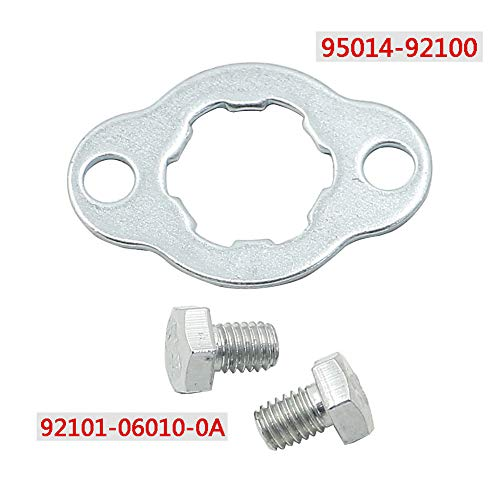 (Motoparty Front Sprocket Fixing Plate with Bolts For Honda ATC200X TRX200SX CB125S NX125 XR200R XR250R Transmission Front Sprocket Lock Bolts Washer,95014-92100)