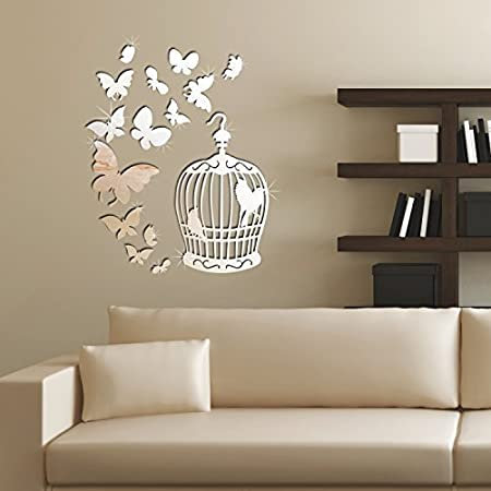 removable self adhesive wall stickers birdcage butterflies mirror