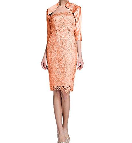 Charmant Brautmutterkleider Promkleider Elegant Orange Langarm Damen Etuikleider Partykleider Knielang Jaket Abendkleider mit rwrCZxI