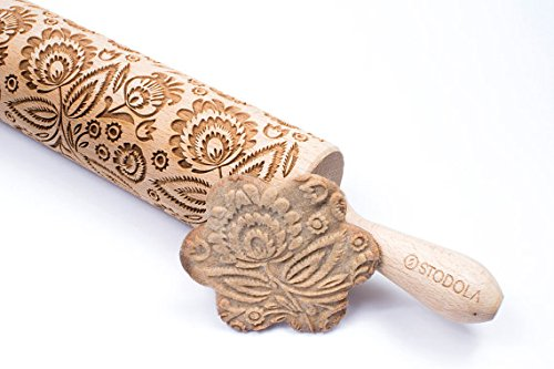 STODOLA Folk Floral - Engraved rolling pin for Embossed cookies 16.9-inch