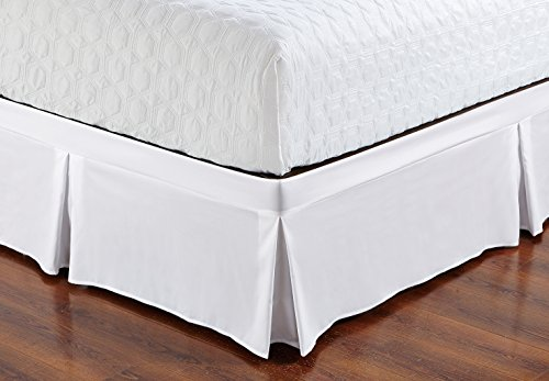De Moocci Wrap Around Style Tailored Bed Skirt - Never Lift Your Mattress, Generous 16'' Drop, Pleated Styling, Hotel Quality, Iron Easy, Wrinkle Resistant - White, Queen (Sure Wrap Elastic)