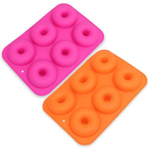 Price comparison product image 2pcs 6 Cavity Silicone Donut Molds Doughnut Baking Pan Non Stick Mould Tray Maker Bagels Muffins - Baking Tray