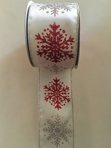 25-x-30-ft-white-with-large-glitter-red-and-silver-snow-flakes-wired-edge-ribbon