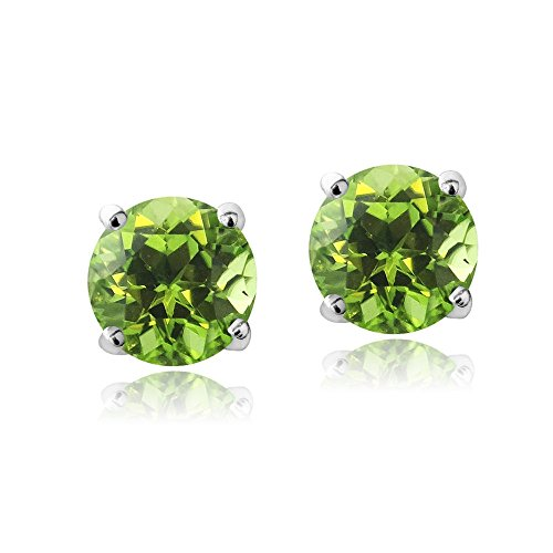Swarovski Crystal Ring Peridot (Bria Lou Silver Flashed Peridot August Birthstone Color Round Stud Earrings Made with Swarovski Crystals (6mm))