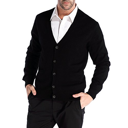 Kallspin Men's Relax Fit V-Neck Cardigan Cashmere Wool Blend Button Down with Pockets ()