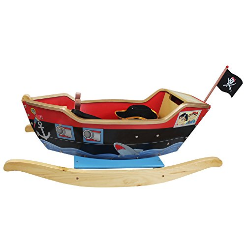 (Teamson Kids - Kids Pirate Ship Ride On Toy with Sword, Scopr and Hat)