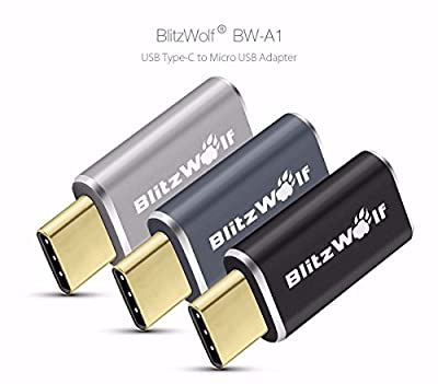 BlitzWolf Micro Female to USB Type C Male Convert Adapter Aluminum Alloy Connector for Nokia N1 Xiaomi 4C, Google Nexus 6P 5X, Lumia 950 950XL, Oneplus 2, ZUK Z1, Apple Macbook