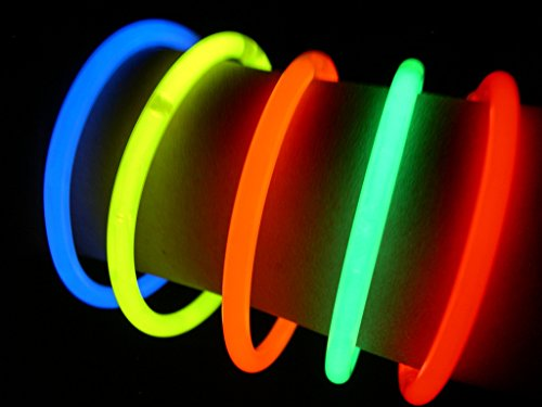 "Glow Sticks Bulk Wholesale Bracelets, 100 8"" Glow Stick Glow Bracelets, Assorted Bright Colors, Glow 8-12 Hrs, 100 Connectors Included, Glow Party Favors Supplies, Sturdy Packaging, GlowWithUs Brand"