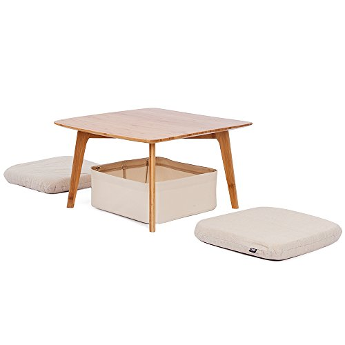 ZEN'S BAMBOO Small Coffee Table Square Tatami Table with Storage Basket and 2 Sponge Cushions Home Furniture Bamboo Coffee Table