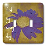 lsp_41170_2 Patricia Sanders Inspirations - Purple Flower Find Joy Every Day- Inspirational Quotes- Art - Light Switch Covers - double toggle switch