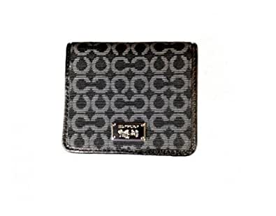 Coach Madison Needlepoint Op Art Small Wallet Black 49589 SV/BK