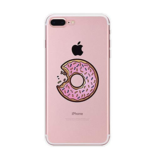 1 piece For IPhone 5 5s 6 6s Plus 7 Plus 8 Plus New Fashion Doughnut Drinks Cake Pattern TPU Soft Painted Phone Cases Back Cover Fundas