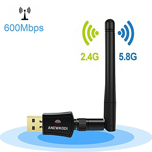 ANEWKODI 600Mbps Dual Band (2.4G/150Mbps+5G/433Mbps) Wireless USB Wifi Adapter,802.11N/G/B Antenna Network Lan Card For Windows XP/Vista/7/8/8.1/10 (32/64bits) MAC OS 802.11 Usb Wireless