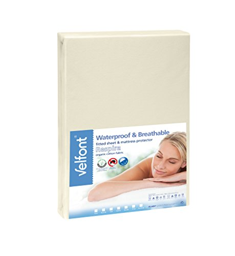 Velfont Premium 2 in 1-100% Organic Combed Cotton Waterproof and Breathable Cream Fitted Sheet & Mattress Protector - Full Size