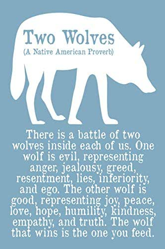 """Native American Quote Print or Poster Tribal Home Decor Wall Word Art Quote""""The Wolf You Feed"""" Silhouette Unframed"""