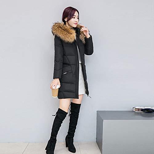 Coton Parka et Manteau Feixiang Slim femmes Fit Medium Jacket pour élégant d'hiver Trench Section Manteaux Femme Noir Jacket Long 7xqXIaHW