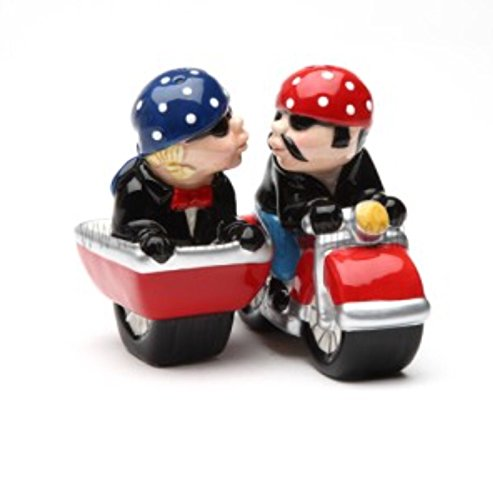 Husband and Wife Biker Motorcycle and Sidecar Salt and Pe...