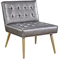 AVE SIX Amity Wooden Leg and Tuffed Seat and Back Accent Chair with Piping, Sizzle Pewter