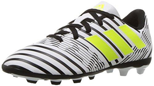 adidas Boys' Nemeziz 17.4 FxG J Soccer Shoe, White/Solar Yellow/Black, 4 Medium US Little Kid