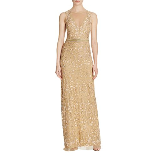 Nicole Miller Womens Embroidered Sleeveless Evening Dress Gold 2