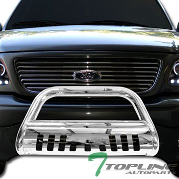 Topline Autopart Polished Stainless Steel Bull Bar Brush Push Front Bumper Grill Grille Guard With Skid Plate For 02-05 Dodge Ram 1500 ; 06-09 1500 Mega ( Extended Crew ) Cab ; 03-09 2500 / 3500 - 1500 Aries Grille Guard
