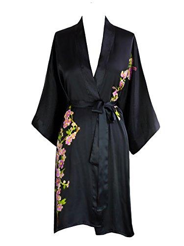 Old Shanghai Women's Silk Kimono Short Robe - Handpainted, Peacock Black,One Size.