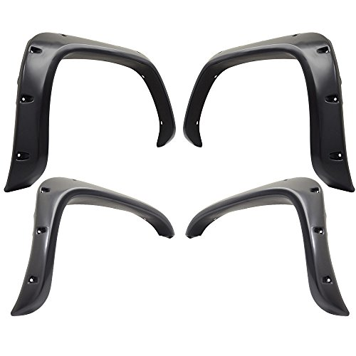 Fender Compatible With 1994-2001 Ram1500 2500 3500   Pocket Style Smooth BLK ABS Rear &Front 4PC Fender Flares by IKON MOTORSPORTS   1995 1996 1997 1998 1999 2000 (1997 Dodge Ram Pickup 2500 Extended Cab)