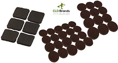 Self Adhesive Black Felt Pads Set - 38 Pieces - Protect Flooring and Table Tops From Scratches - Chair Glides For Furniture, Bar Stools, Lamps, Vases, Ceramics, TV's - Protective Pads