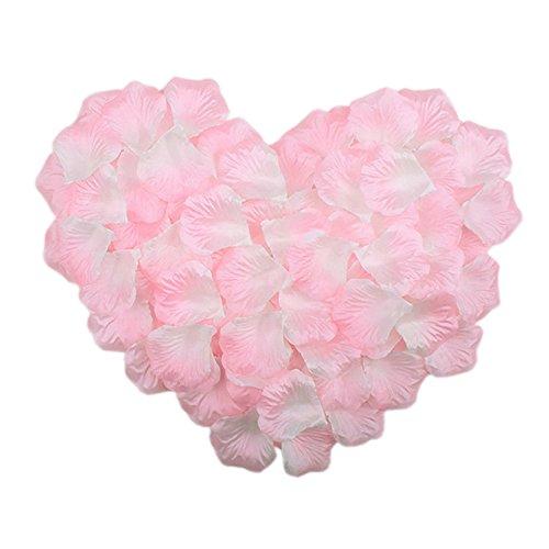 HKBAYI 10bag 1000pcs Artificial Flowers Silk Rose Petals Favors Flower Simulation Petals (White Pink Petal)
