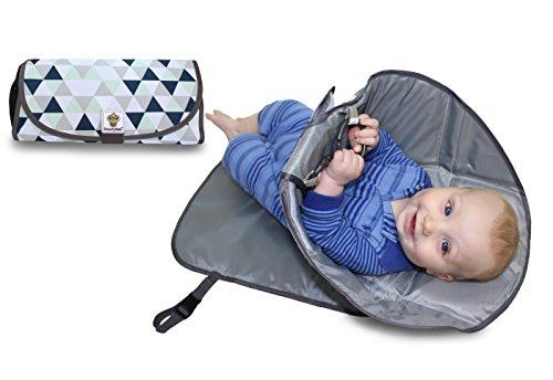 Pads Cone (SnoofyBee Portable Clean Hands Changing Pad. 3-in-1 Diaper Clutch, Changing Station, and Diaper-Time Playmat With Redirection Barrier for Use With Infants, Babies and Toddlers (blue white grey))